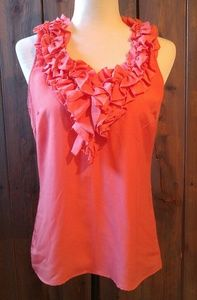 New York & Co Women's Ruffled Coral Sleeveless Top